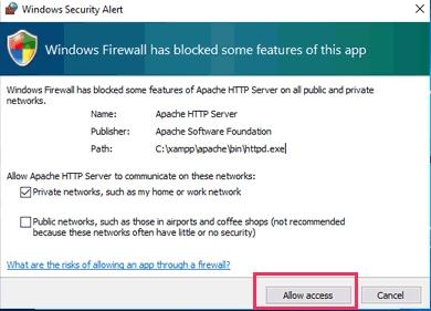 التحذيرات الأمنية عند تشغيل الApache ،MySql